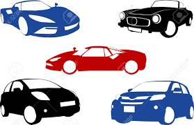 five grunge banners with cars royalty free cliparts vectors and