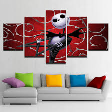 online buy wholesale jack skellington poster from china jack canvas prints wall art pictures 5 pieces hallowmas jack skellington paintings home decor nightmare before christmas