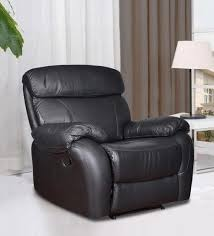one and a half seater sofa buy single seater half leather manual recliner rocker sofa in black