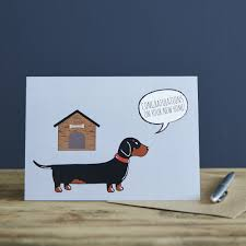 dachshund sausage new home card 2 75 mischievous mutts