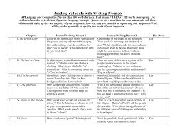 the scarlet letter reading schedule with writing