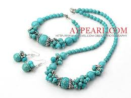 round turquoise necklace images Round turquoise cluster beaded and flower charm jewelry sets jpg