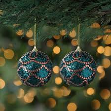 peacock blue and copper glam ornaments set of 2 kirklands