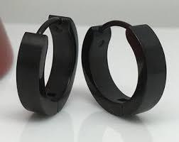 black hoop earrings large black hoop earrings for men black stainless steel