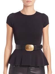 polo ralph lauren silk peplum sweater in black lyst