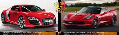 corvette vs audi r8 audi r8 v10 5 2 fsi r tronic vs chevrolet corvette c7 stingray