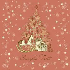 vintage christmas card beautiful christmas tree illustration