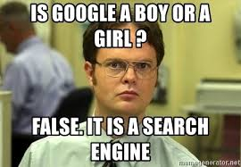 Meme Search Engine - is google a boy or a girl false it is a search engine dwight