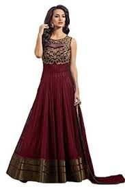 mr fashion women u0027 u0027s maroon color party wear embroidered semi