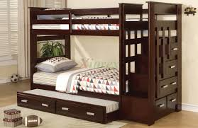 Steel Double Deck Bed Designs Furniture Dark Brown Polished Wooden Bunk Bed With Stair And