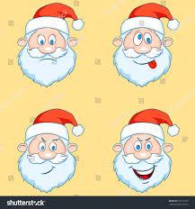 four funny santa claus heads set vector stock vector 523715770