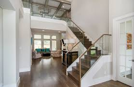 Glass Staircase Banister Wonderful Glass Banister Staircase Farmhouse With White Railing