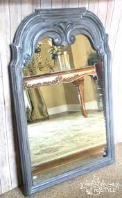 mirror layered with driftwood milk paint and argentine pearl