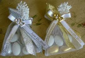 personalized ribbons for favors decorated organza bag w almonds heart