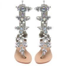 amazon com azmodo women u0027s pu rhinestones chains flat gladiator