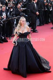 molly sims black satin off the shoulder ball gown celebrity prom
