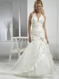 clearance plus size wedding dresses zipper plus size white satin floor length chapel halter