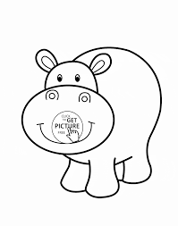 little hippo smiling animal coloring page for kids animal