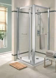 bi fold shower enclosure door bathroom two entry ideas plastic
