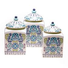 hand painted mood indigo ceramic canisters set of 3 by certified