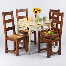 Country French Dining Room Tables Set Of Four Country French Oak Chairs With Rush Seats 1940s At