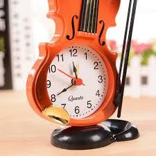 creative instrument table clock violin gift home decor quartz