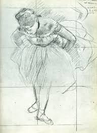degas drawings dancer leaning forward black pencil and chalk on