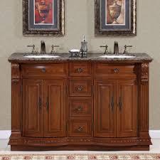 silkroad exclusive granite top 55 inch double sink vanity cabinet