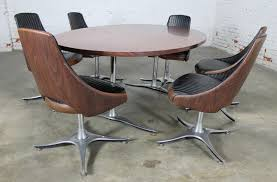 Swivel Dining Chair Century Dinette Set With Aluminum Base Oval Double Pedestal Table