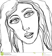abstract sad woman face sketch royalty free stock image image