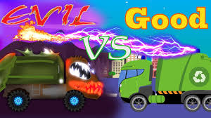 monster truck videos on youtube good vs evil garbage truck scary monster trucks for children