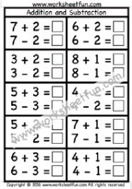 addition and subtraction u2013 one worksheet first grade worksheets