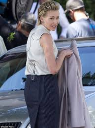 portia hair company portia de rossi slicks her hair back and dons a pencil skirt and