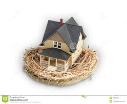 Home Inside by Photograph Of Birds Nest With A Miniature Home Inside Stock