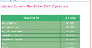 layout template listview how to use table for listview layout in asp net