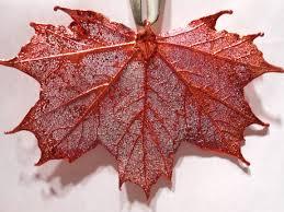real sugar maple leaf metal filigree ornament