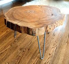 coffee table custom made natural live edge round slab side table