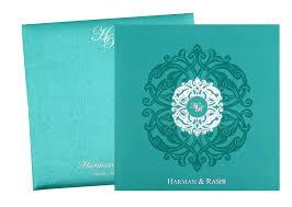 royal wedding cards invitation card in royal aquamarine and silver colour