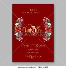 christmas dinner invitation wording poinsettia christmas party invitation sample card stock vector