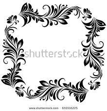vector rectangular frame design stylized floral stock vector
