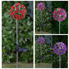 Light Up Topiary Balls - 12cm solar powered led topiary ball stake light dual function