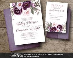 plum wedding plum wedding invite etsy