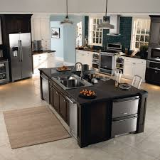 Double Island Kitchen by Grey Granite Countertops Kitchen Traditional With Double Island
