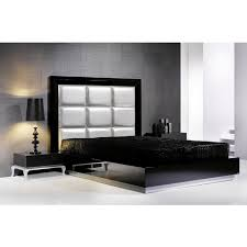 Black Upholstered Headboard Tall Padded Headboard And Black Gloss Bedstead