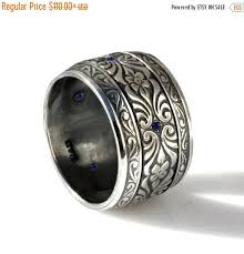 men oxidized silver wedding band art deco style engraved mens