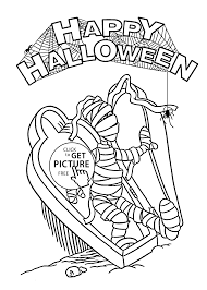 halloween mummy and spider coloring page for kids printable free