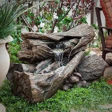 build a log or wood slice fountain for backyard amazing diy