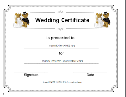 marriage certificate template word templates