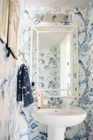 Powder Room Wallpaper Ideas Beautiful Blue And White Bathrooms House Design Ideas