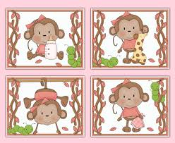 monkey 8x10 wall art prints baby pink jungle safari nursery